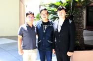 좌부터'굿네이버스와 함께하는 심형진의 워십 투게더'를 준비하는 굿네이버스 김재학 본부장, 심형진 목사, 굿네이버스 김택영 목사