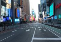 락다운 정책으로 한산한 뉴욕 시내