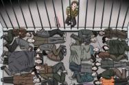 북한 구류장에 수감된 구금자들이 비좁은 공간에서 잠을 자고 있는 모습의 그림 ©2020 Choi Seong Guk for Human Rights Watch
