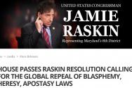 미 하원의 '신성모독법' 폐지안을 주도한 제이미 라스킨(Jamie Raskin) 하원 의원의 웹 사이트