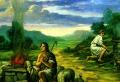 ▲가인과 아벨의 제사를 묘사한 살레르노 대성당 설교대의 상아 장식부조(루브르 미술관 소장)