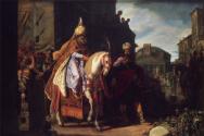 ▲하만이 모르드개가 말을 타고 있는 모습을 부럽고 두려운 모습으로 바라보고 있다. 17세기 네덜란드 화가 피터르 라스트만(Pieter Lastman, 1583-1633)의 그림.
