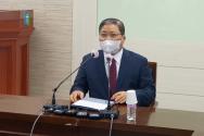 예장 합동 총회장 소강석 목사가 24일 총회회관에서 긴급 기자회견을 갖고 있다.