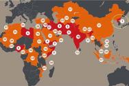 오픈도어선교회가 발표한 박해 국가 50위. 아시아와 아프리카 10/40창에 집중돼 있다. 북한은 20년 연속 최악의 기독교 박해국이다.