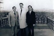 국제 CCC 설립자 빌 브라이트 박사, 빌리 그레이엄 목사, 한국 CCC 설립자 김준곤 목사. 엑스플로 74 ⓒCCC 제공