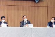 발표회가 진행되고 있다. 왼쪽부터 정일권 교수, 김영한 박사, 신국원 박사. ⓒ학술원