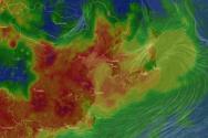 중국발 미세먼지로 뒤덮인 한반도.