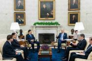지난 21일 미국 백악관에서 정상회담 중인 한미 정상. ⓒ백악관