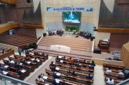 한장총이 8일 서울 꽃동산교회에서 코로나19 방역수칙을 준수한 가운데 제13회 한국 장로교의 날 기념예배를 드렸다. ©김진영 기자