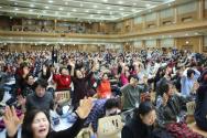 2020년 1월 6-10일 '제23회 북한구원 금식성회'에서 북한 구원과 복음통일을 위해 부르짖어 기도하는 성도들. ⓒ에스더기도운동