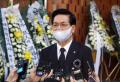 15일 여의도순복음교회에 마련된 故 조용기 목사 조문소 앞에서 애도 메시지를 발표하고 있는 이영훈 목사 ©노형구 기자