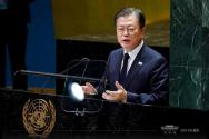 문재인 대통령이 21일 뉴욕 유엔 총회에서 연설하고 있다. ⓒ청와대