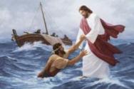 물에 빠진 베드로를 건져올리시는 예수 ©유튜브 영상 캡처