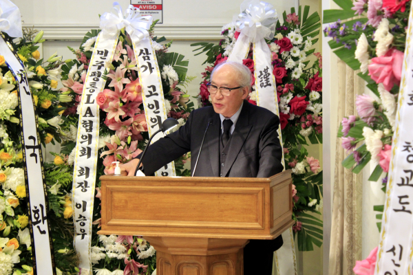 故 김경일 목사 천국환송예배에서 설교하는 KWMC 상임의장 고석희 목사