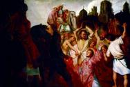 붉고 화려한 옷을 입은 채 화면 가운데를 채우고 있는 스데반과 그 위로 같은 곳을 바라보는 사울의 모습(1625년, 캔버스에 유채, 리용, 데 보자르 미술관).