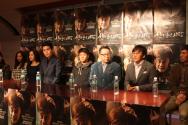 기자회견 모습. (왼쪽부터 순서대로) 최선자, 김은혜, 오산하, 최규환, 홍경인, 안병경, 김인권, 조덕제. ⓒ신태진 기자